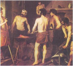 """Un primo piano de """"La fucina di Vulcano"""" dipinta nel 1630 da Diego Velazquez"""