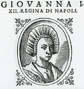 """Il ritratto delle Regina Giovanna I proposto nella edizione del 1601 dell' opera di Scipione Mazzella intitolata """"Descrittione del Regno di Napoli"""""""